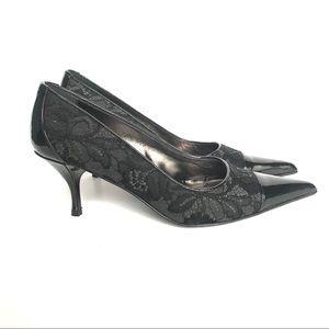 Donald J. Pliner Leather & Lace Black Heels 8 N